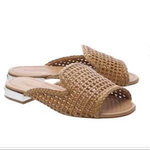 SCHUTZ  Sulola Brown leather woven slides size 6